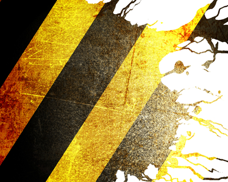 hazard stripes: Black and yellow hazard lines with grunge effects Stock Photo