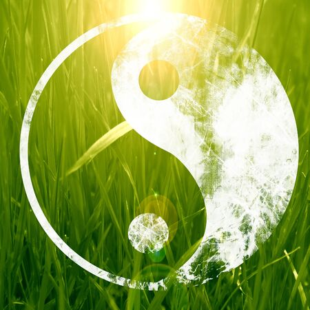 daoism: The yin and yang grass sign with some soft spots and highlights