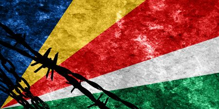 illegal alien: seychelles flag with some soft highlights and folds