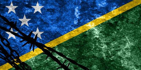 illegal alien: Solomon islands flag with some soft highlights and folds