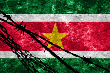 flee: Suriname flag with some soft highlights and folds Stock Photo