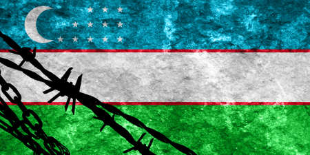 immigrant: Uzbekistan flag with some soft highlights and folds Stock Photo