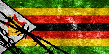 flee: Zimbabwe flag with some soft highlights and folds Stock Photo