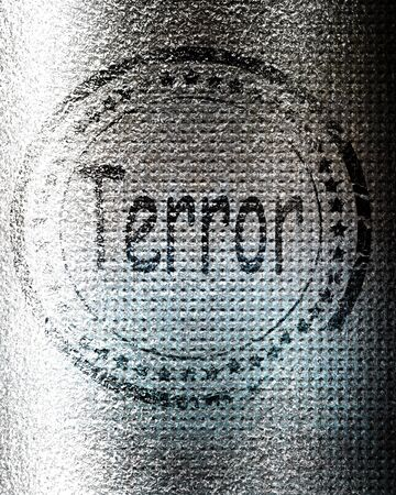 terror: Terror stamp on a grunge background with some rough lines Stock Photo