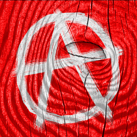 anarchist: Anarchy sign with rough edges and some grunge effects Stock Photo