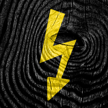 voltage sign: High voltage sign with yellow and black colors