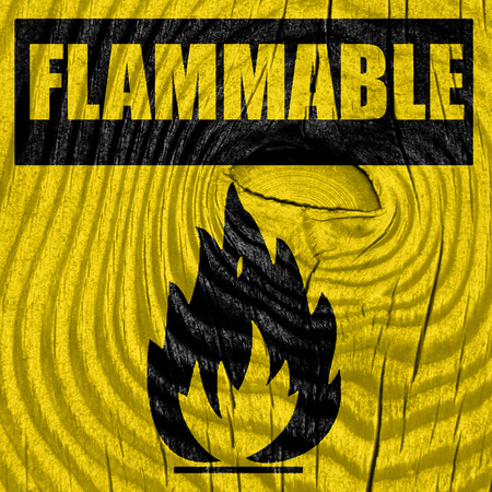 perilous: Flammable hazard sign with yellow and black colors
