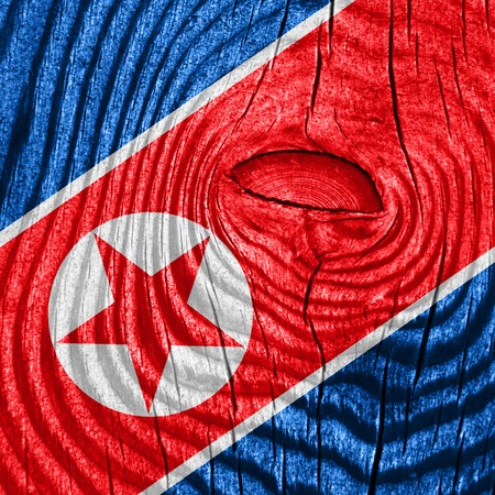 independence: North Korea flag with some soft highlights and folds