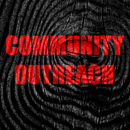 outreach: Community outreach sign with some smooth lines Stock Photo