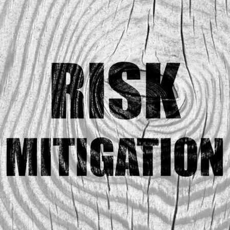 mitigate: Risk mitigation sign with some smooth lines and highlights
