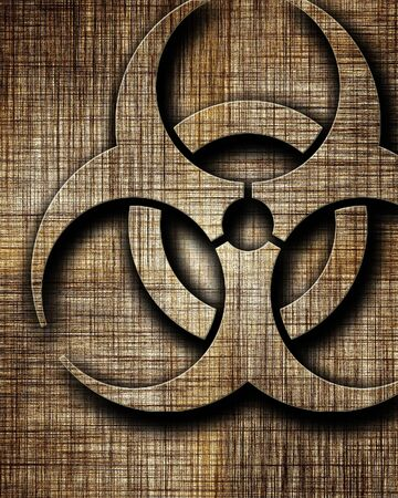 biological warfare: Bio hazard sign on a grunge background with some soft scractches