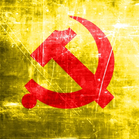 socialism: Communist sign with red and yellow vivid colors