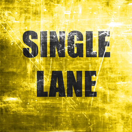 one lane sign: Single lane sign with yellow and black colors Stock Photo
