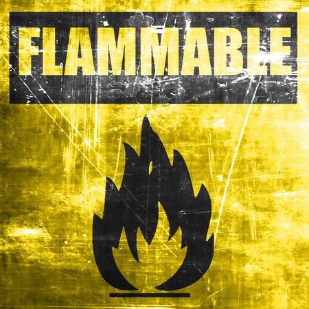 burnable: Flammable hazard sign with yellow and black colors