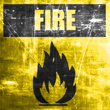 flammable: Flammable hazard sign with yellow and black colors
