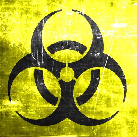 hazardous waste: Bio hazard sign on a grunge background Stock Photo