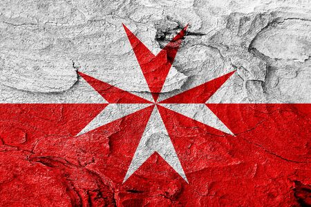 mystique: Malta knights flag with some soft highlights and folds Stock Photo