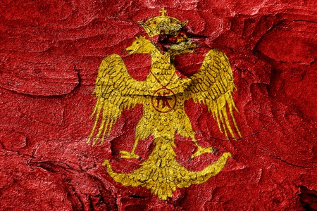 the roman empire: Byzatine eagle flag with some soft highlights and folds Stock Photo