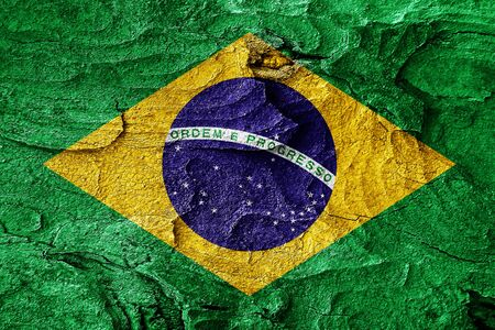 brasil: Brasil flag with some soft highlights and folds Stock Photo