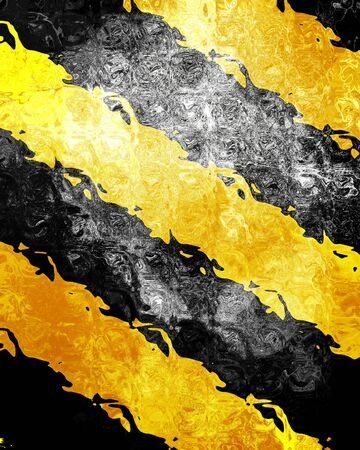 tarmac: Black and yellow hazard lines with grunge effects Stock Photo