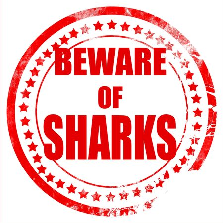 no swimming sign: Beware of sharks sign with some smooth lines