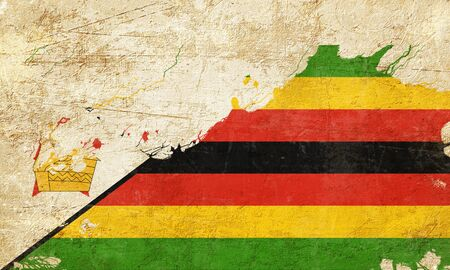 highlights: Zimbabwe flag with some soft highlights and folds Stock Photo