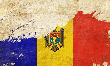 folds: Moldova flag with some soft highlights and folds