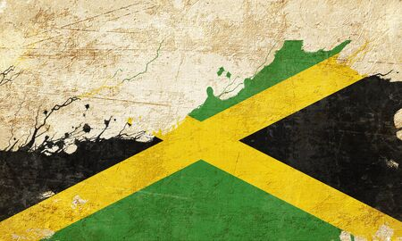 folds: Jamaica flag with some soft highlights and folds Stock Photo