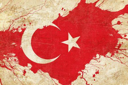 drapeau Turquie avec quelques reflets doux et les plis