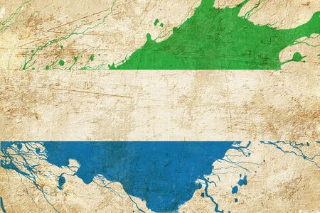 leone: Sierra Leone flag with some soft highlights and folds