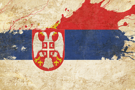 folds: Serbia flag with some soft highlights and folds