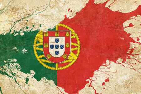 folds: Portugal flag with some soft highlights and folds Stock Photo