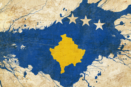 folds: Kosovo flag with some soft highlights and folds Stock Photo