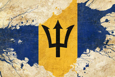 folds: Barbados flag with some soft highlights and folds Stock Photo