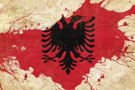 folds: Albania flag with some soft highlights and folds Stock Photo