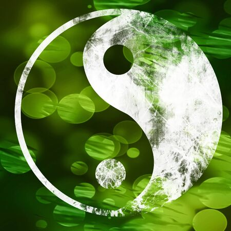balance symbolic: The yin and yang grass sign with some soft spots and highlights