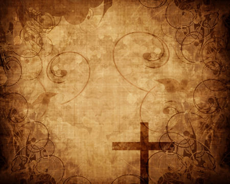 worship  praise: Christian cross on paper background with some soft lines