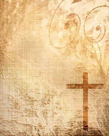 christian faith: Christian cross on paper background with some soft lines