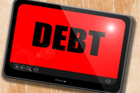 bad idea: Debt sign with some smooth lines and highlights