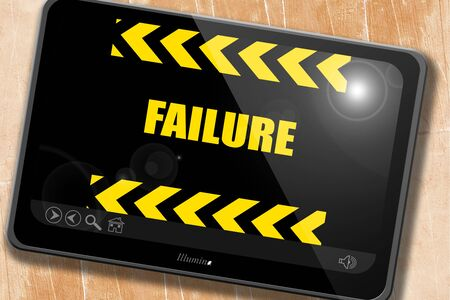 defeat: Failure sign with some smooth lines and highlights