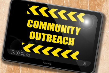 community outreach: Community outreach sign with some smooth lines Stock Photo