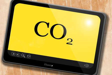 co2: CO2 warning sign with yellow and black colors