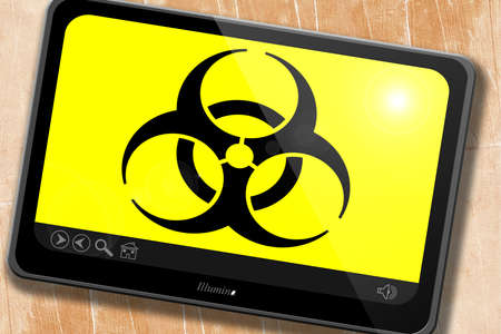 biological warfare: Bio hazard sign on a grunge background Stock Photo