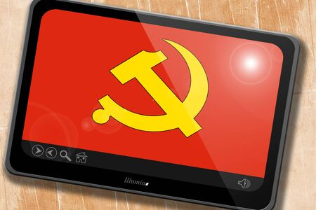 socialist: Communist sign with red and yellow vivid colors