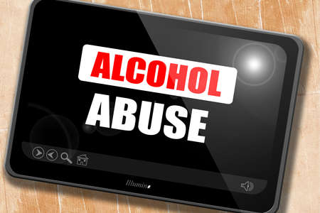 dependance: Alcohol abuse sign with some soft flowing lines Stock Photo