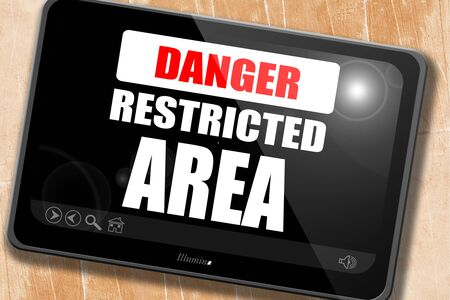 entrance is forbidden: Restricted area sign with some smooth lines Stock Photo