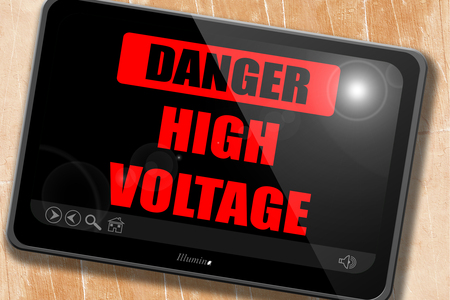 high voltage sign: high voltage sign with some soft smooth lines Stock Photo