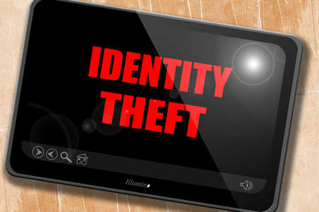 stolen identity: Identity fraud background with some smooth lines Stock Photo