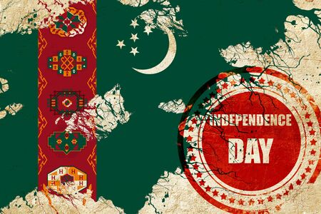independent day: Turkmenistan flag with some soft highlights and folds Stock Photo