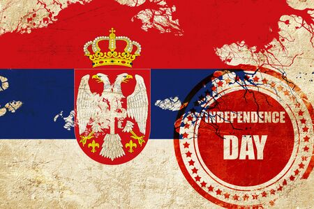 independent day: Serbia flag with some soft highlights and folds